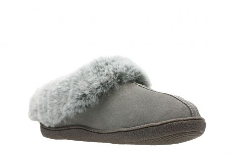 f0570c8ed77e Clarks Home Classic Grey Suede Womens Slippers